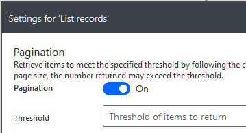 List records pagination settings